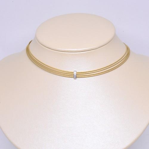 美國ALOR 黃色4行不鏽鋼18K金鑽石項鏈 (Exclusive)