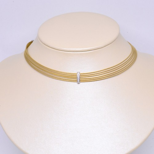 美國ALOR 黃色6行不鏽鋼18K金鑽石項鏈 (Exclusive)