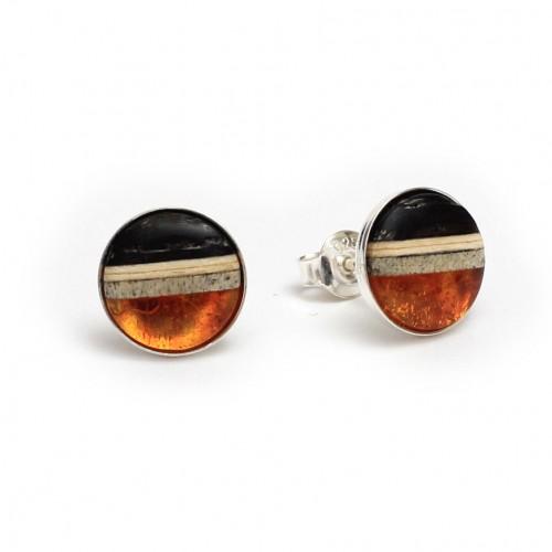 歐洲Amberwood圓系列 干邑色琥珀純銀耳環