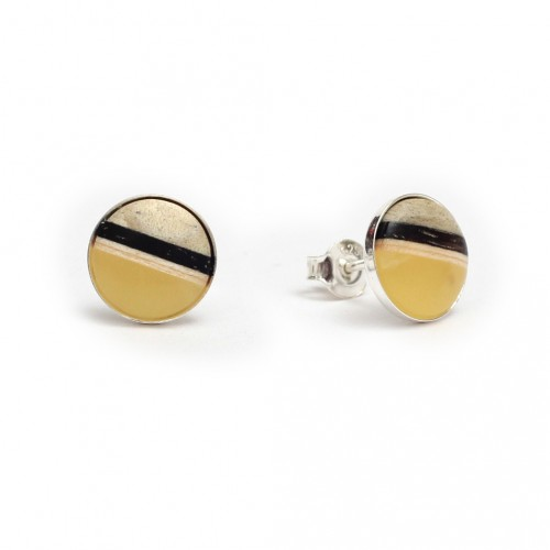 歐洲Amberwood圓系列 奶油色琥珀純銀耳環